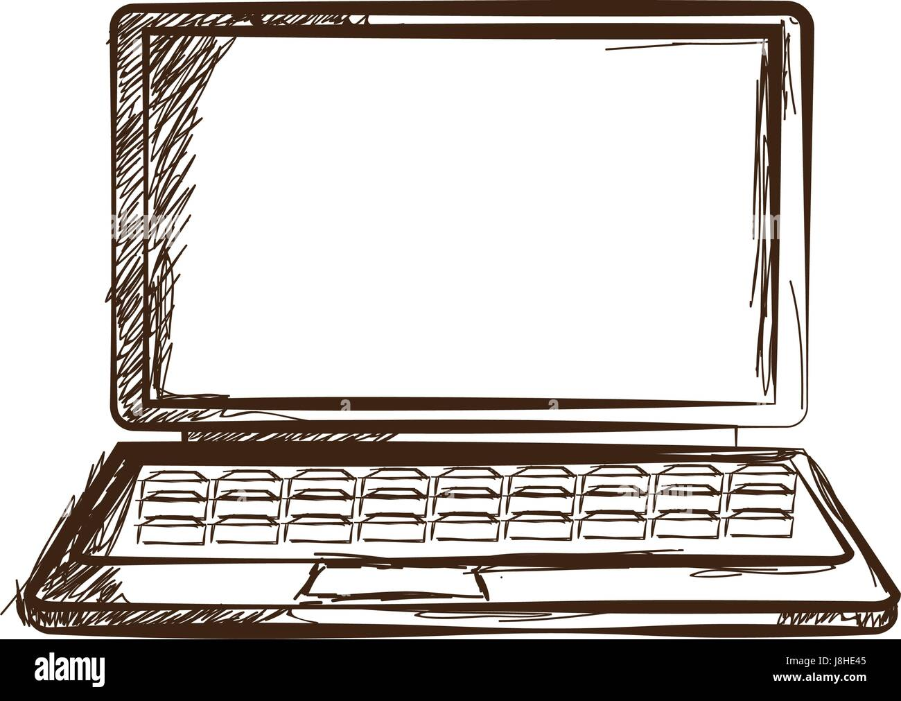laptop hand drawn sketch doodle gadget engraved - Stock Image