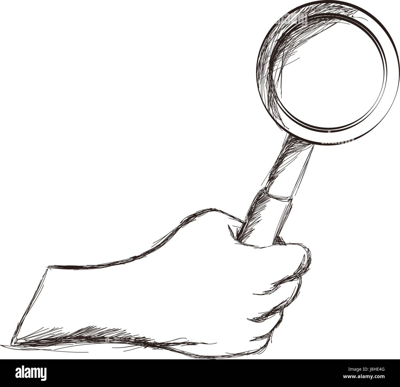 sketch hand holding magnifier vintage icon Stock Vector