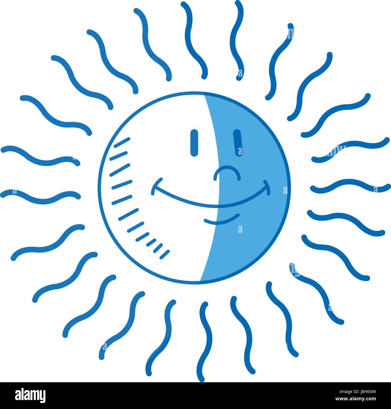 cartoon sun weather day climate icon - Stock Vector