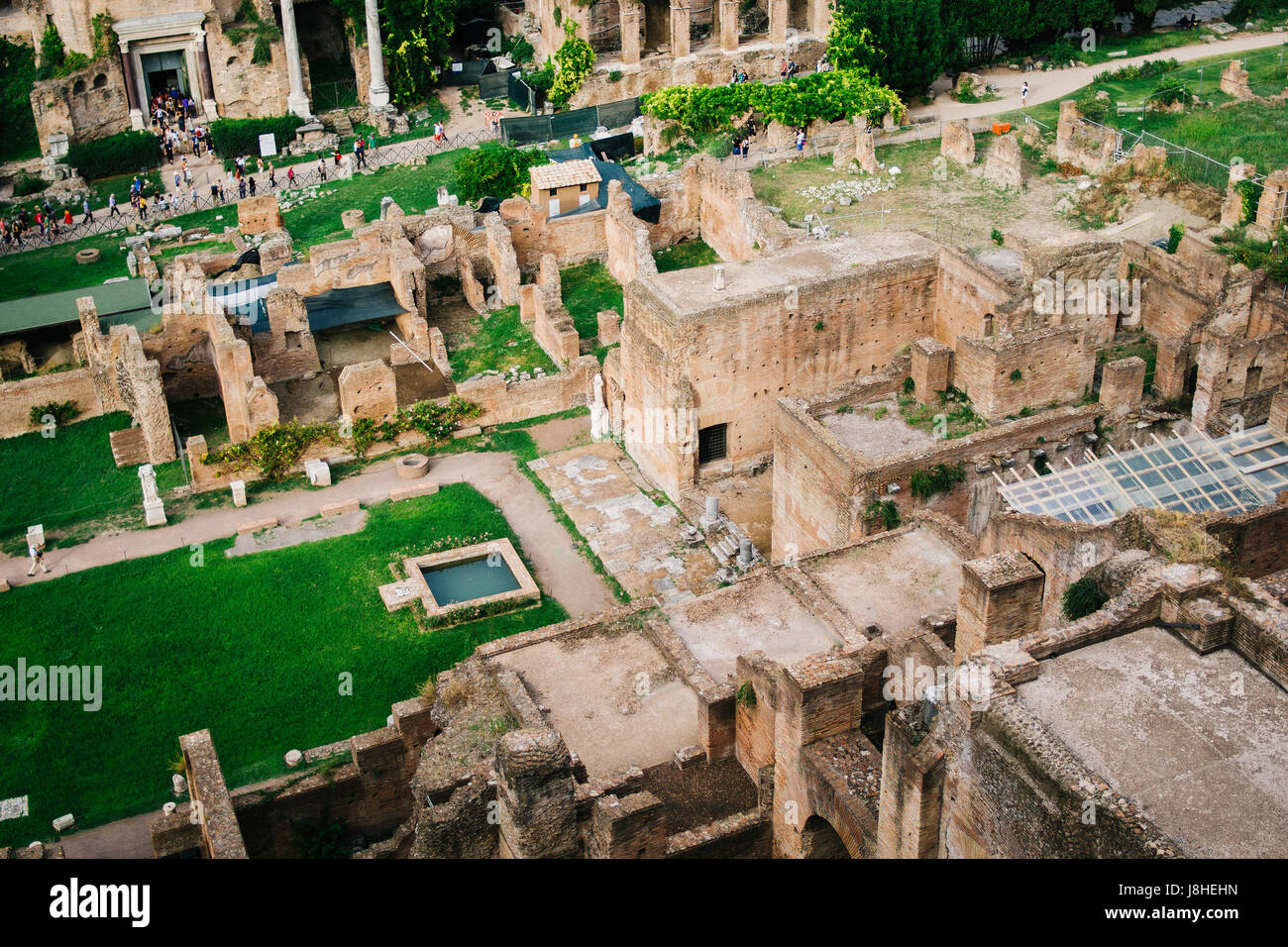 Roman Forum or Foro Romano seen from a high angle in Rome, Italy. - Stock Image