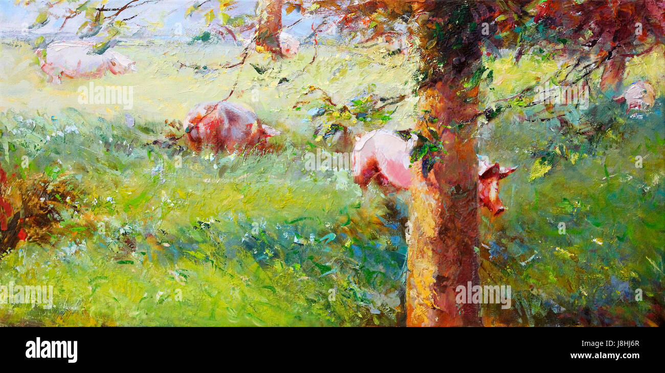 agriculture, farming, painting, pigs, meadow, sow, paintings, lucky, luck, pig, - Stock Image