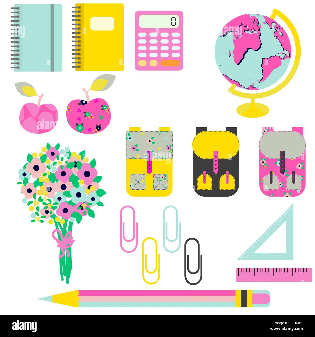 School supplies vector clip art stationery objects. Bright yellow and pink objects for first-grader - flowers, knapsack, - Stock Vector