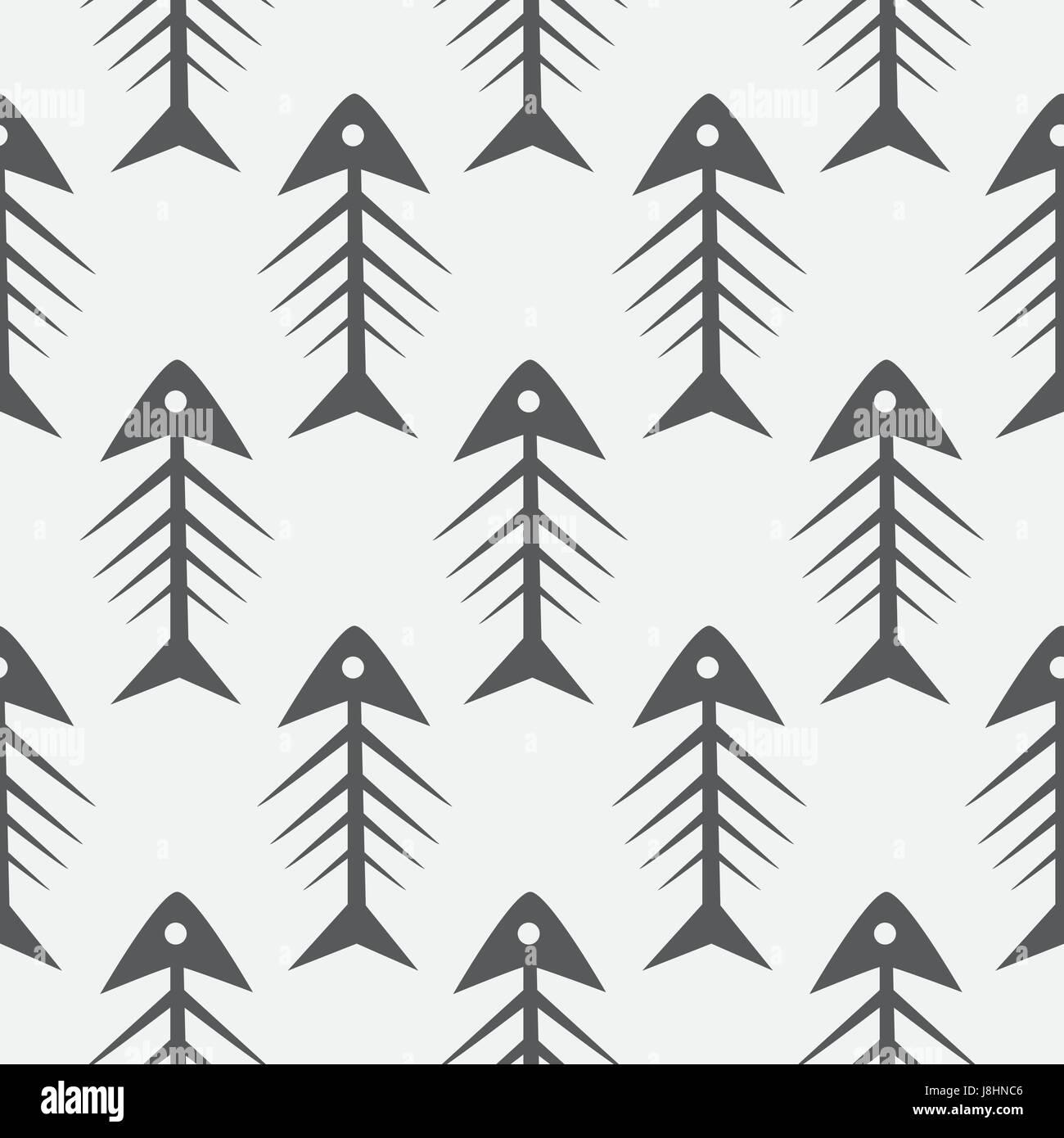 fish bone monochrome seamless vector pattern black and white stock
