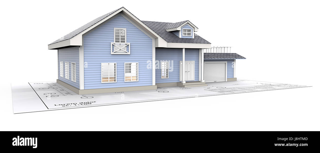 Blue Generic House with Light from windows ontop of Blueprint. 3D render. - Stock Image