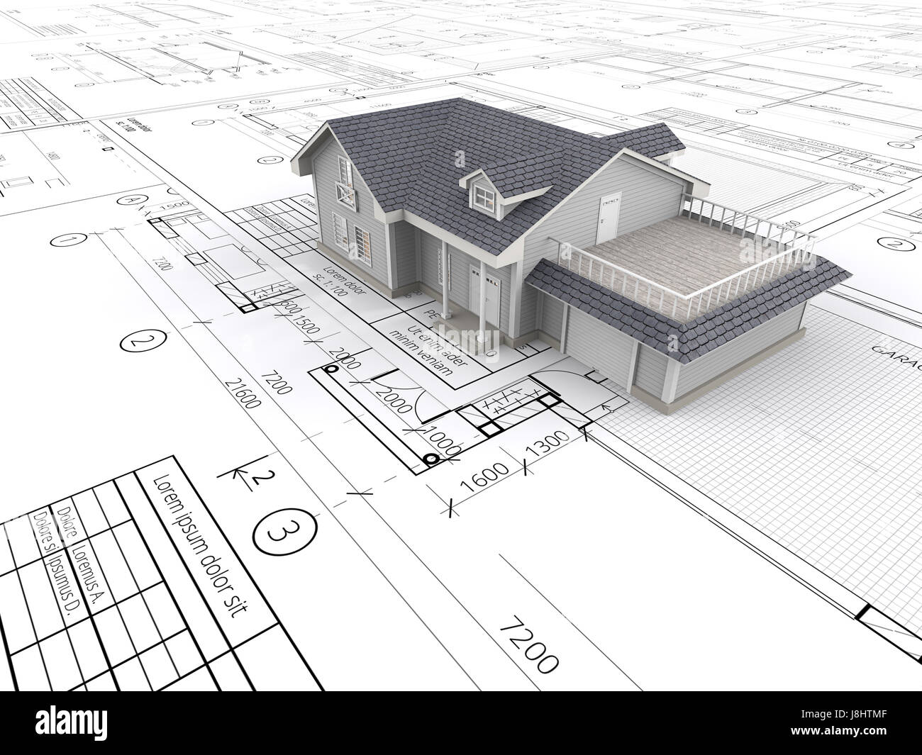 Top perspective View of a House ontop of large set of Blueprints. 3D render. Stock Photo