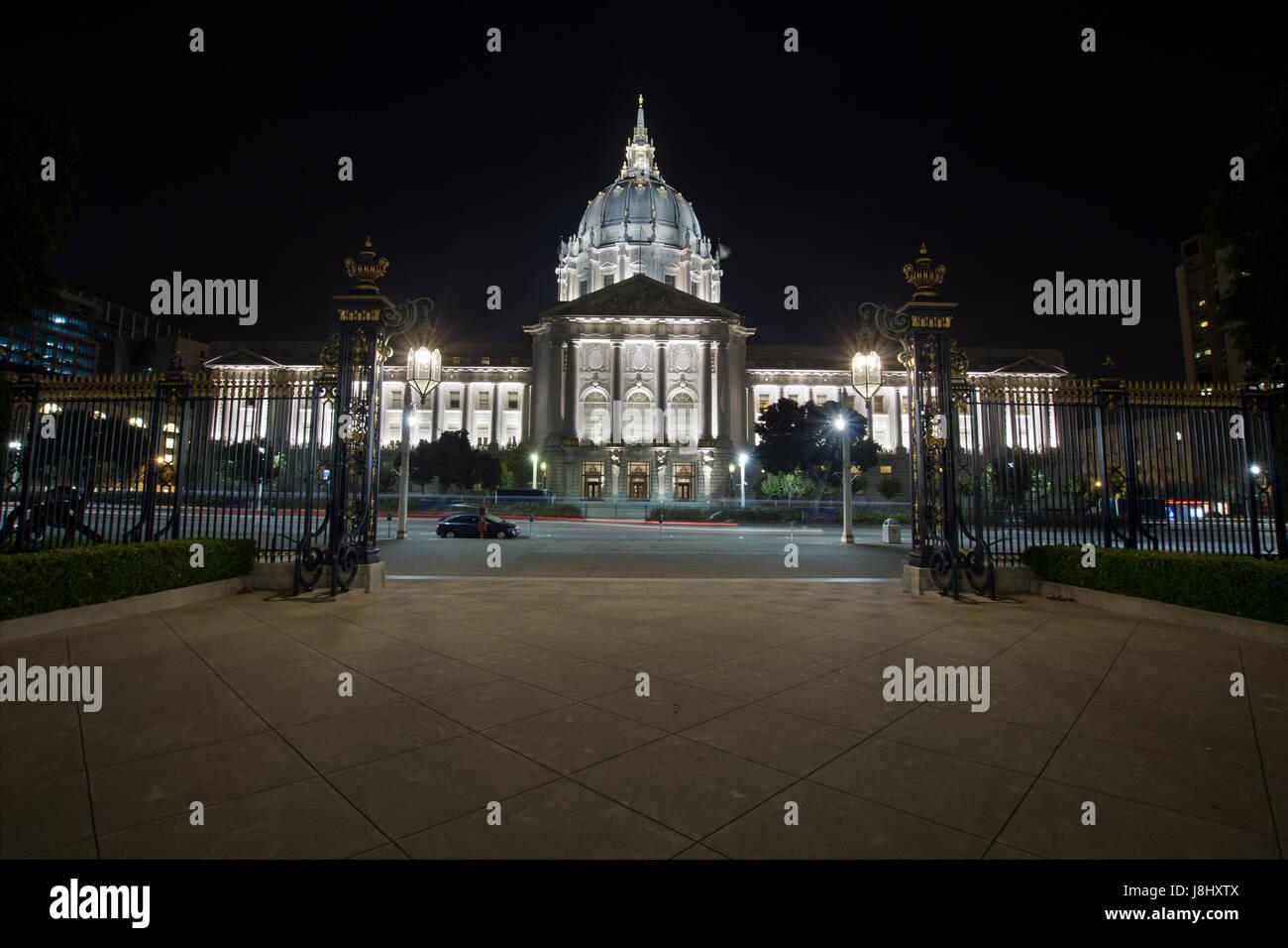 hall, city, town, night, nighttime, california, hall, city, town, dome, night, - Stock Image