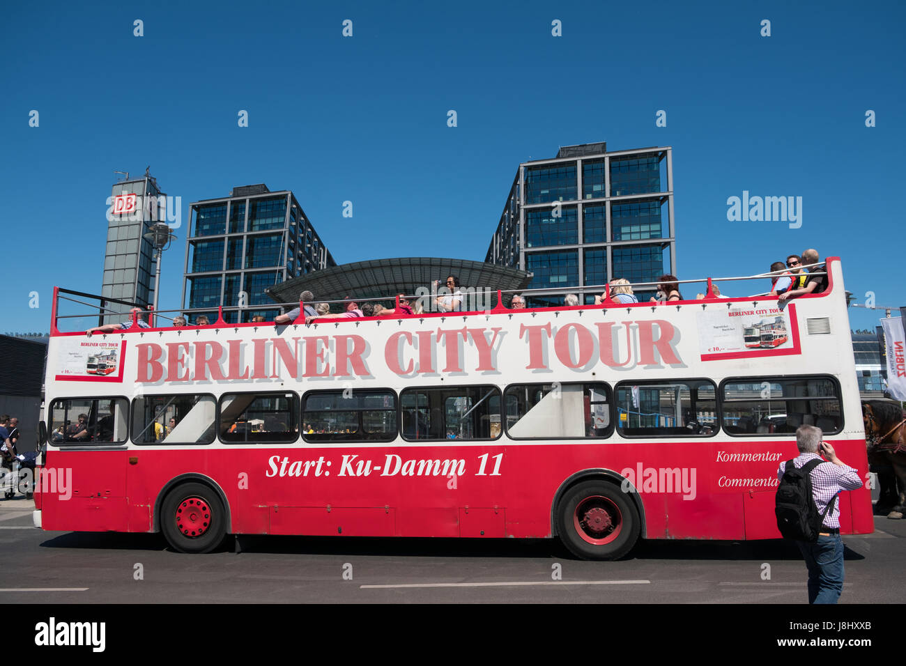 Berlin, Germany - may 27, 2017: A doubledecker, cabriolet sightseeing bus in Berlin with people doing a sightseeing - Stock Image