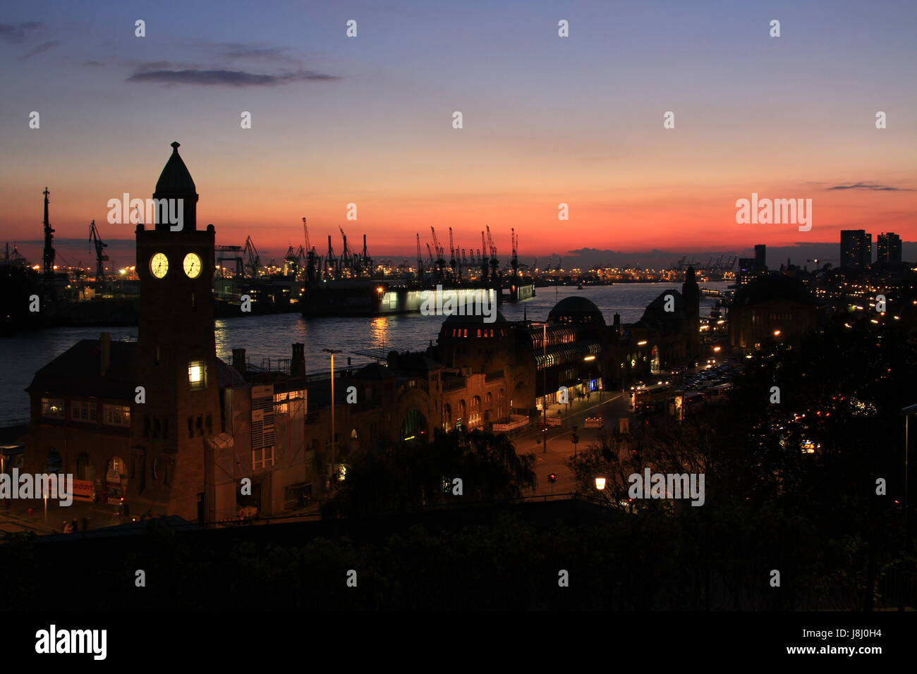 harbor, hamburg, gangplanks, harbours, memory city, tower, church, city, town, - Stock Image