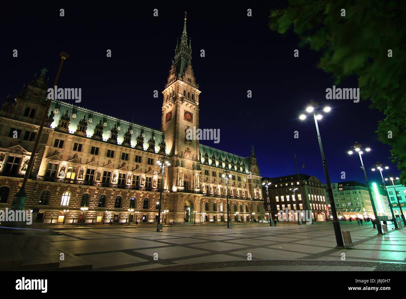 harbor, hamburg, harbours, tower, church, city, town, metropolis, tree, trees, - Stock Image