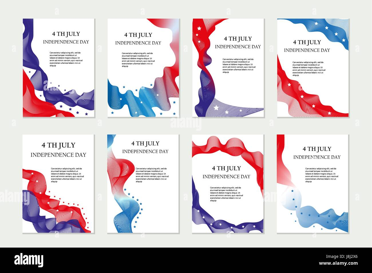 Independence Day Of America Template Set For Brochures Postcard