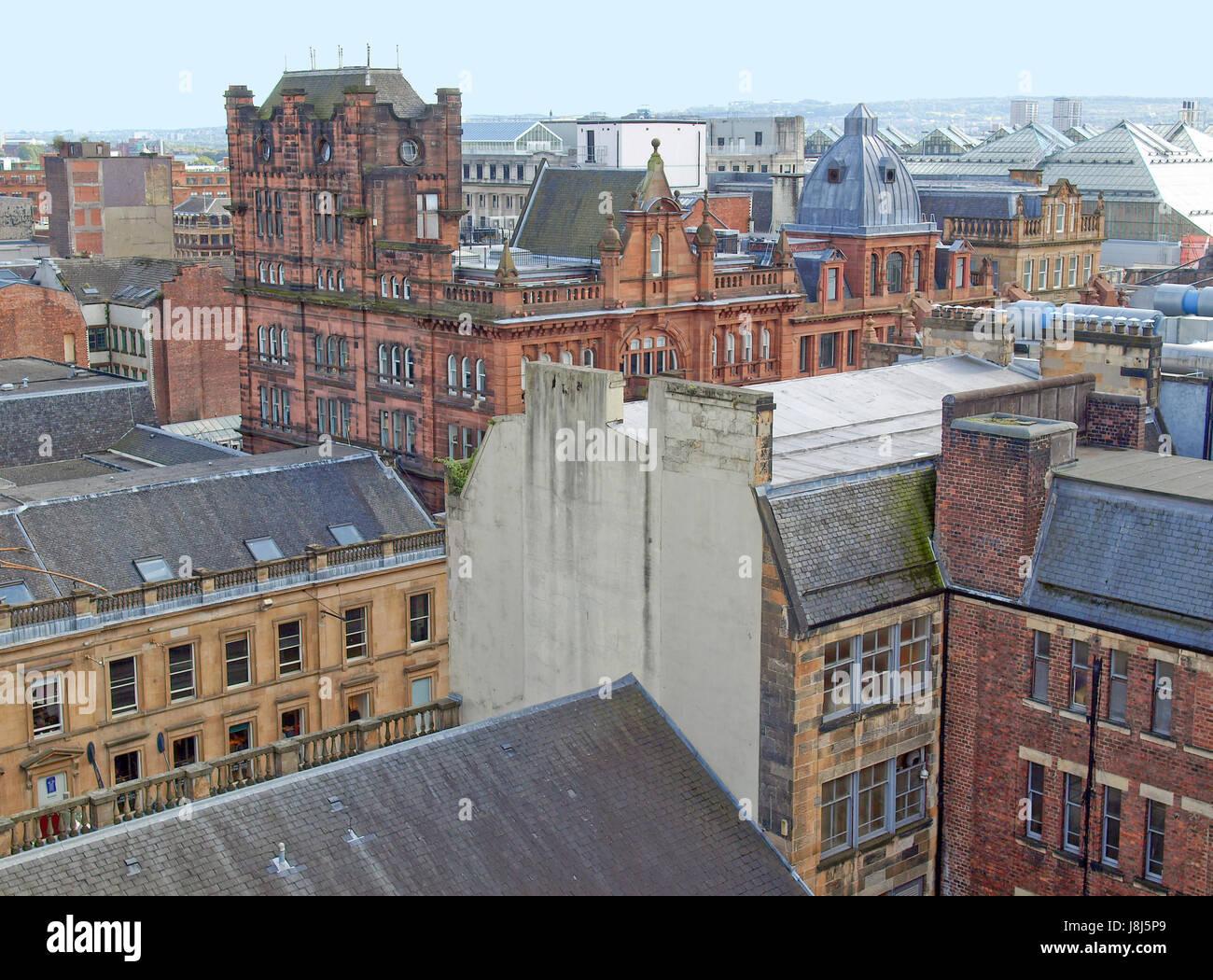 city, town, centre, center, britain, kingdom, aerial, glasgow, city, town, - Stock Image