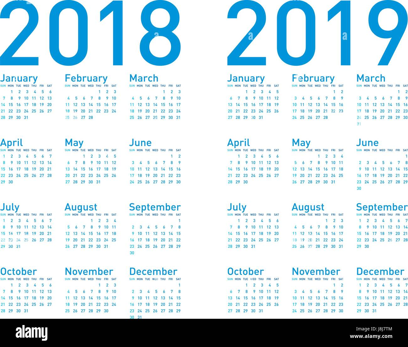 simple blue calendar for years 2018 and 2019  in vectors
