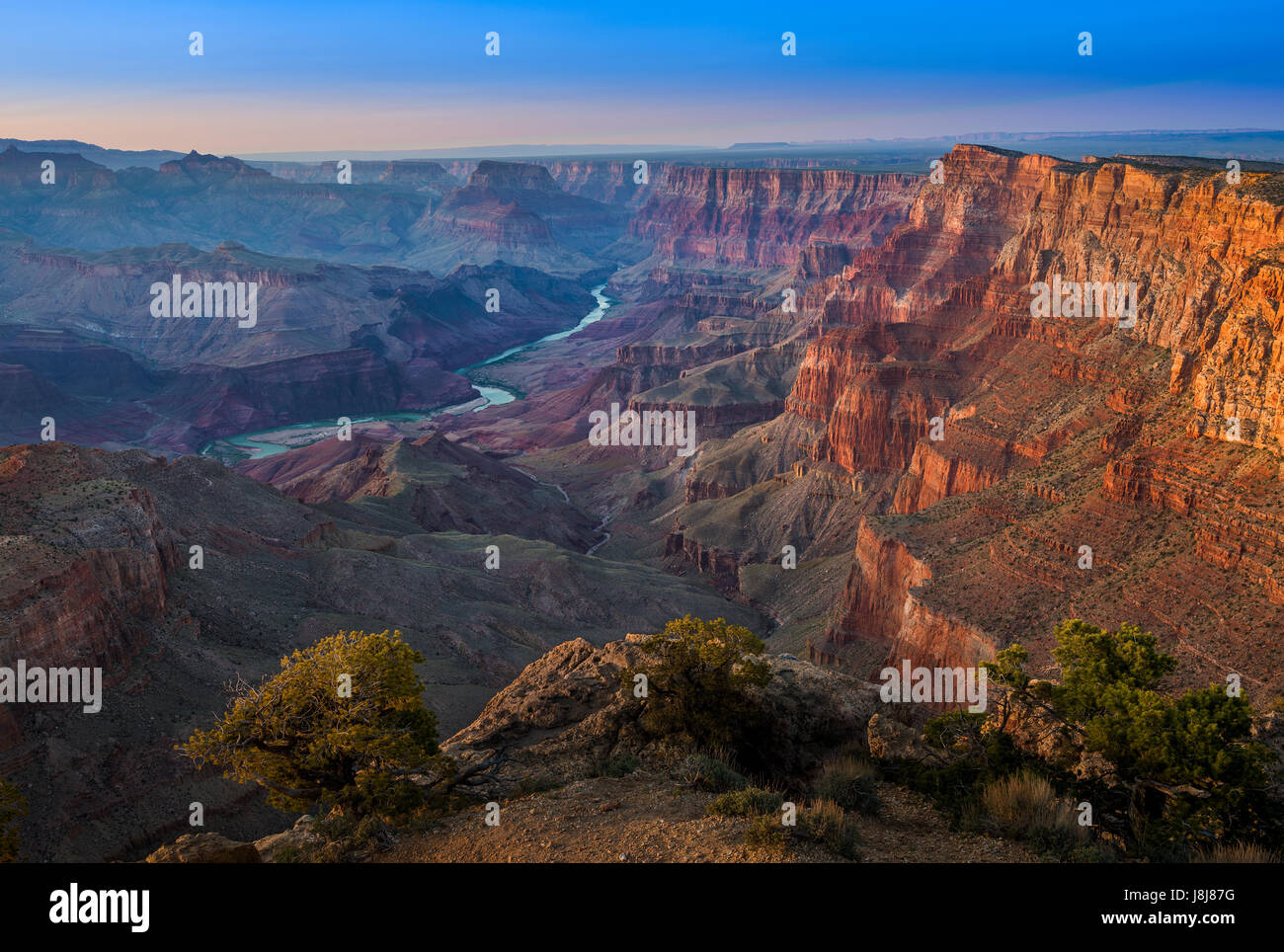 The world famous Grand Canyon National Park is a steep-sided canyon carved by the Colorado River in the U.S. state - Stock Image
