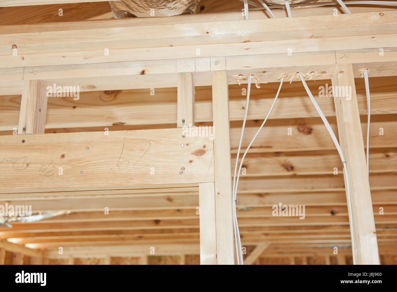 New Home Framing With Electrical Wires Stock Photo Alamy