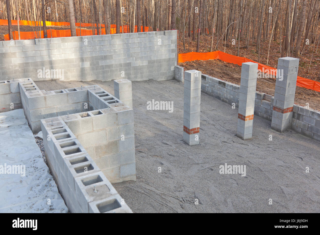 The crawl space of a new home being prepared - Stock Image