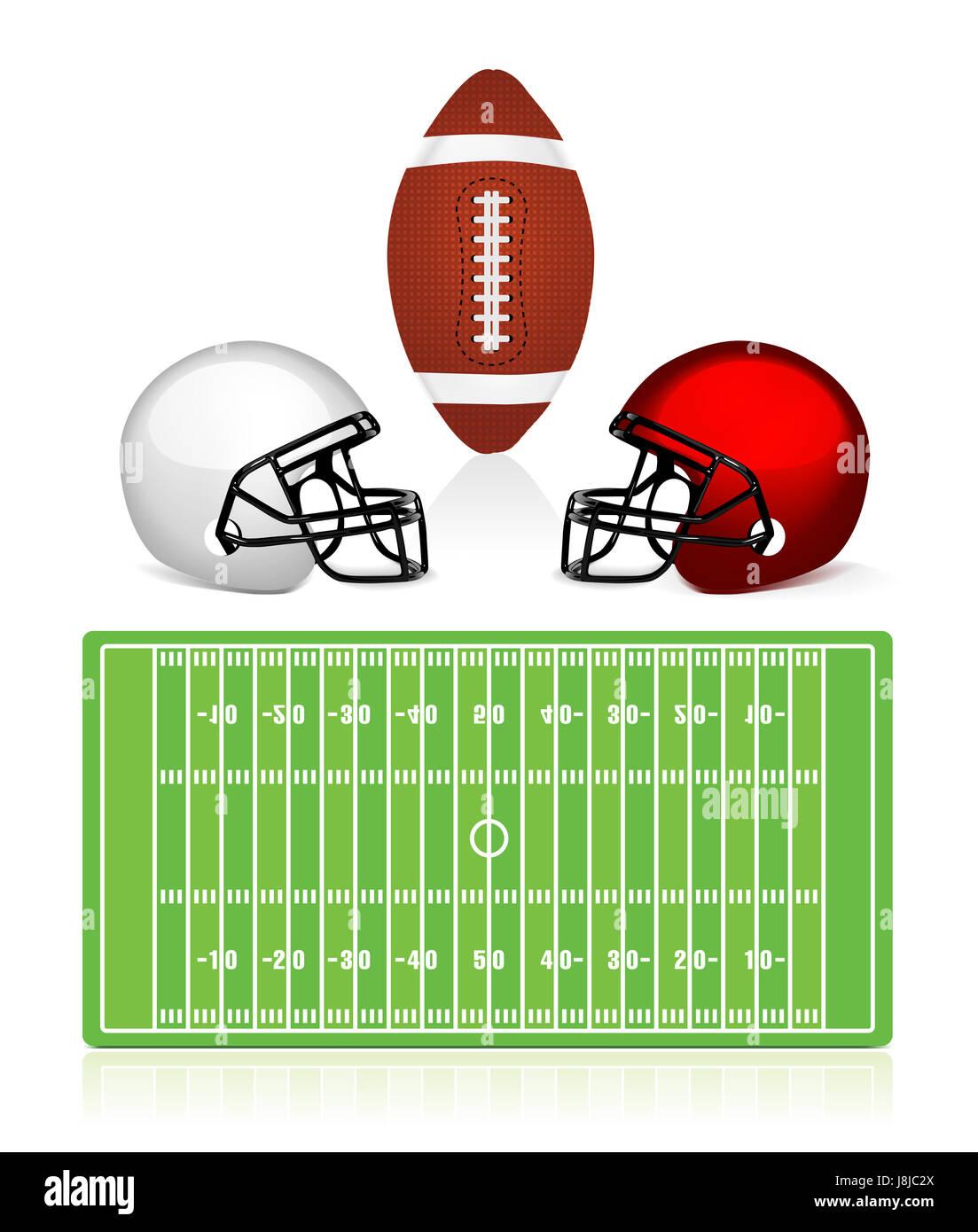 american, ball, field, helmet, sport, sports, soccer, football, humans, human - Stock Image