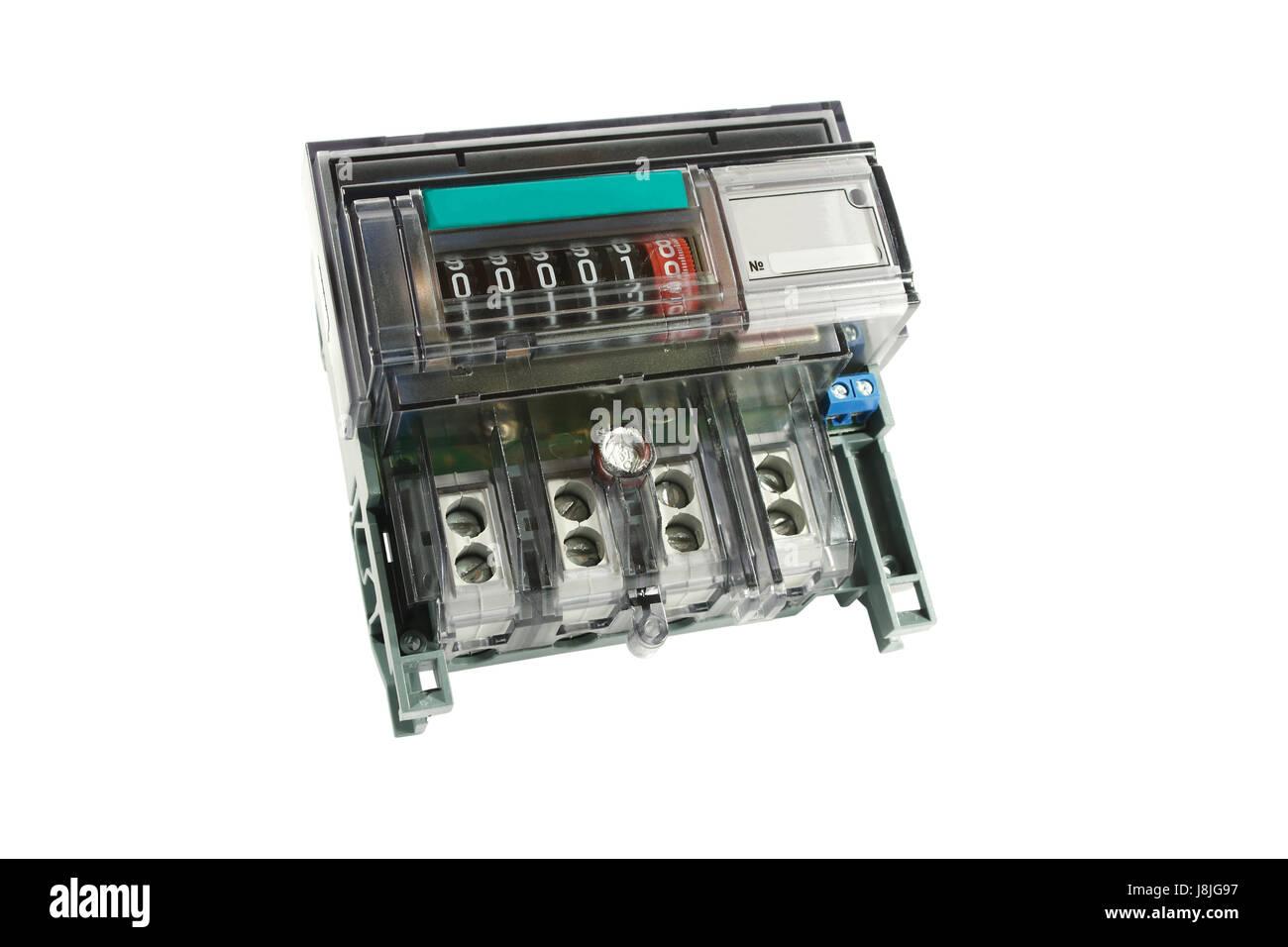 horizontal, technology, reading, number, kilowatt, measuring, component, - Stock Image
