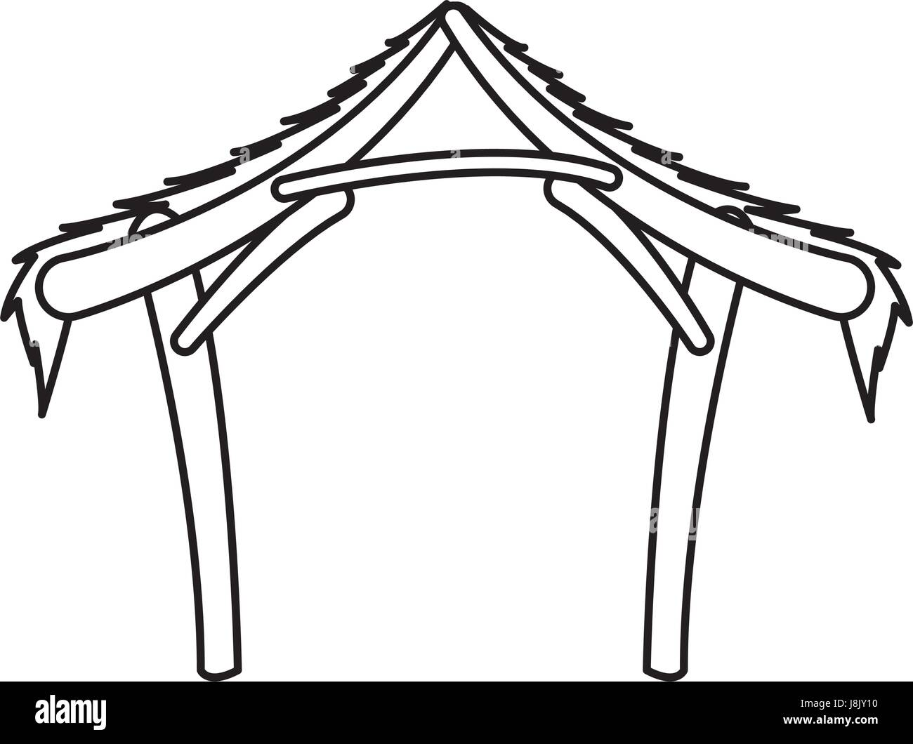 Christmas Stable Drawing.Manger Hut Wooden Decoration Nativity Outline Icon Stock