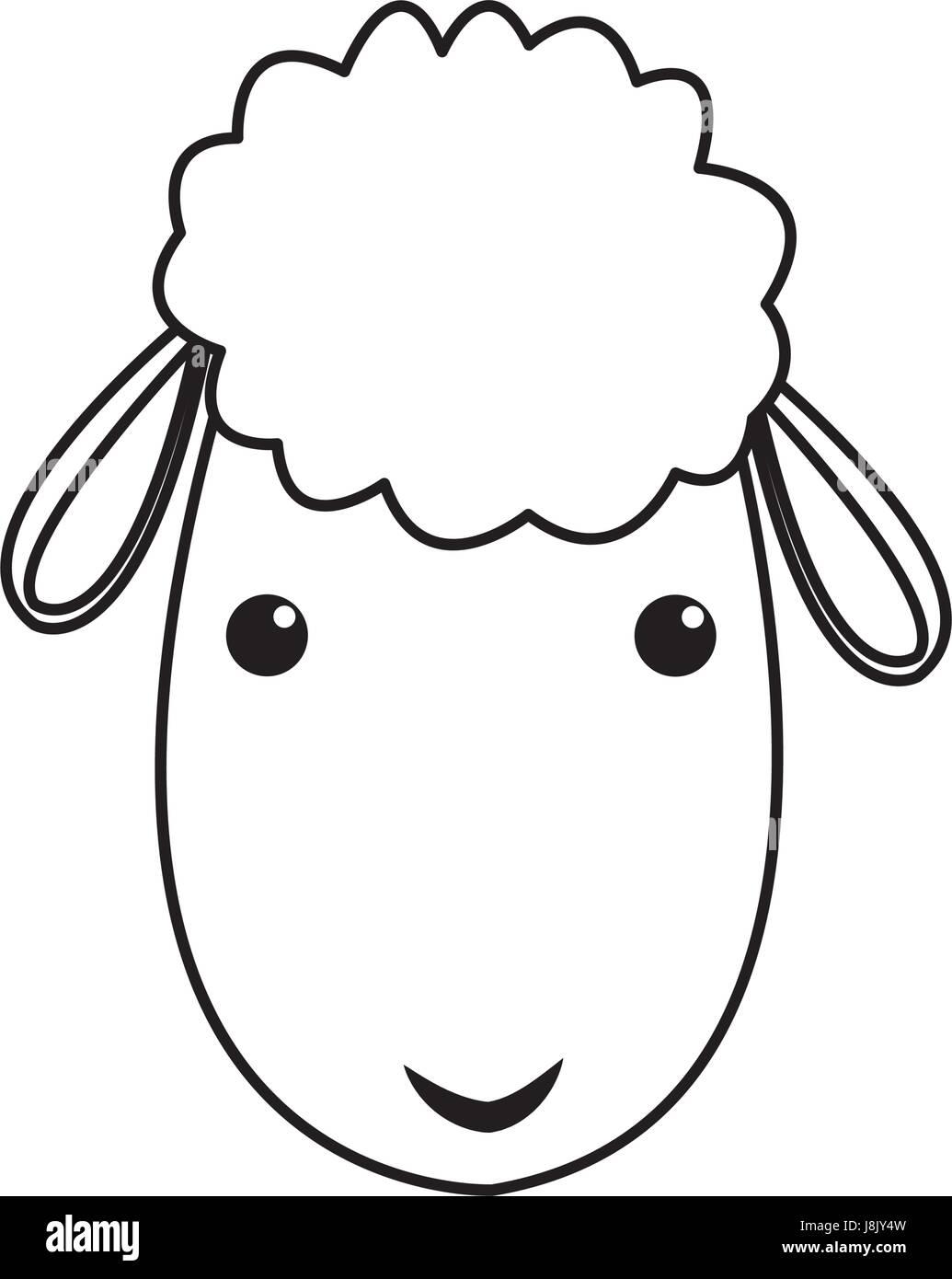 sheep manger christmas character line Stock Vector