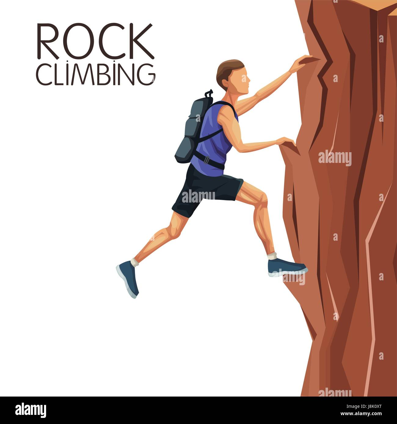scene man climbing on a rock mountain - Stock Vector