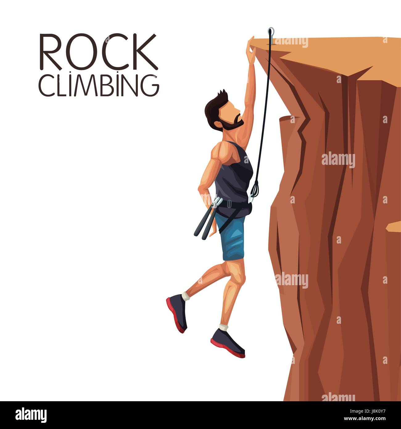 scene man hanging on the cliff rock climbing - Stock Vector