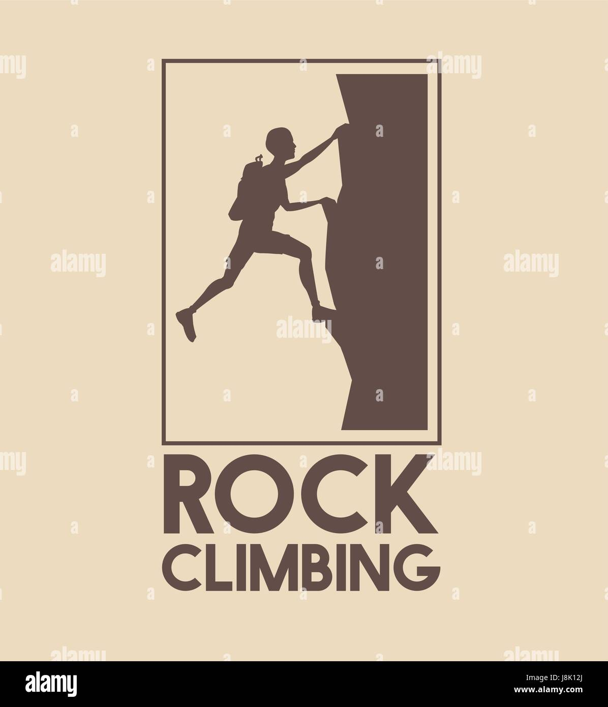 poster logo silhouette man climbing on a rock mountain - Stock Vector