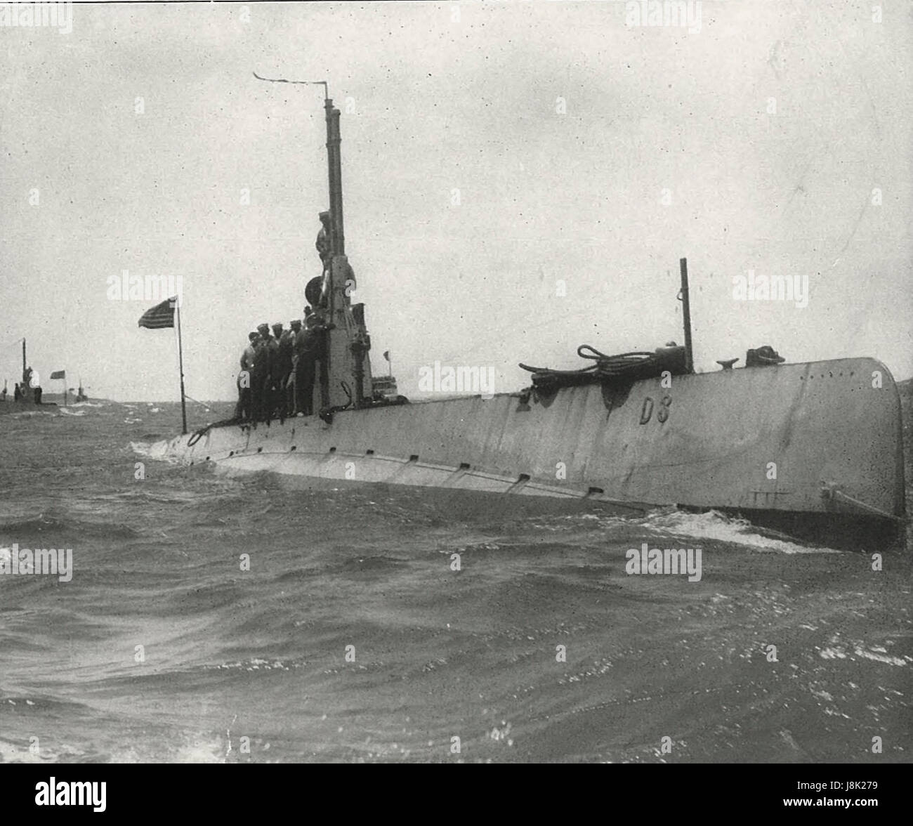 Submarine D-3 - American Submarine completed in 1910 - Stock Image