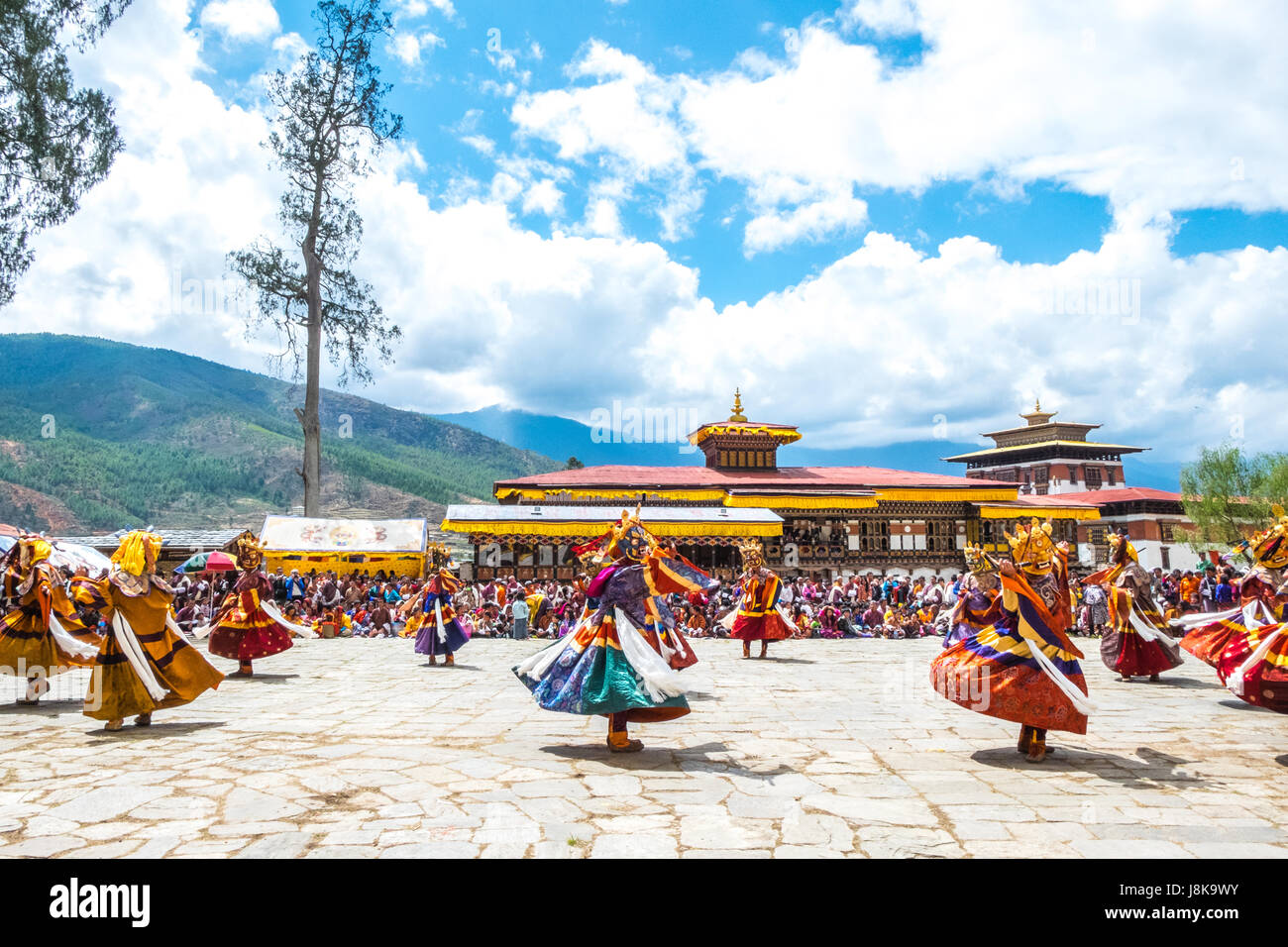 Cham dance or mask dance at Paro Tsechu, Bhutan's largest Tantric Buddhism festival celebrated in spring. - Stock Image
