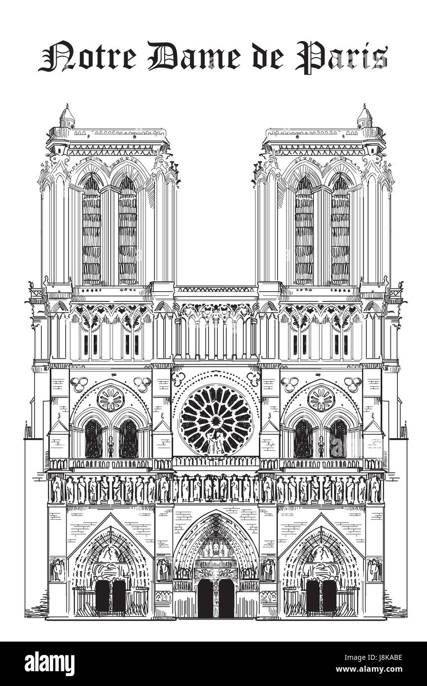 Notre Dame Cathedral (Landmark of Paris, France) vector isolated hand drawing illustration in black color on white - Stock Image