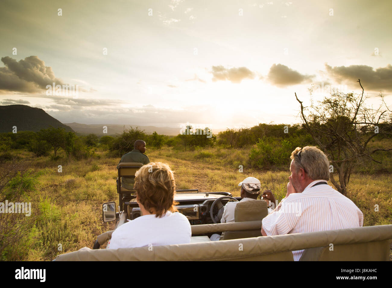 South Africa - January 15: Early morning game drive at Mkuze Falls Reserve - Stock Image