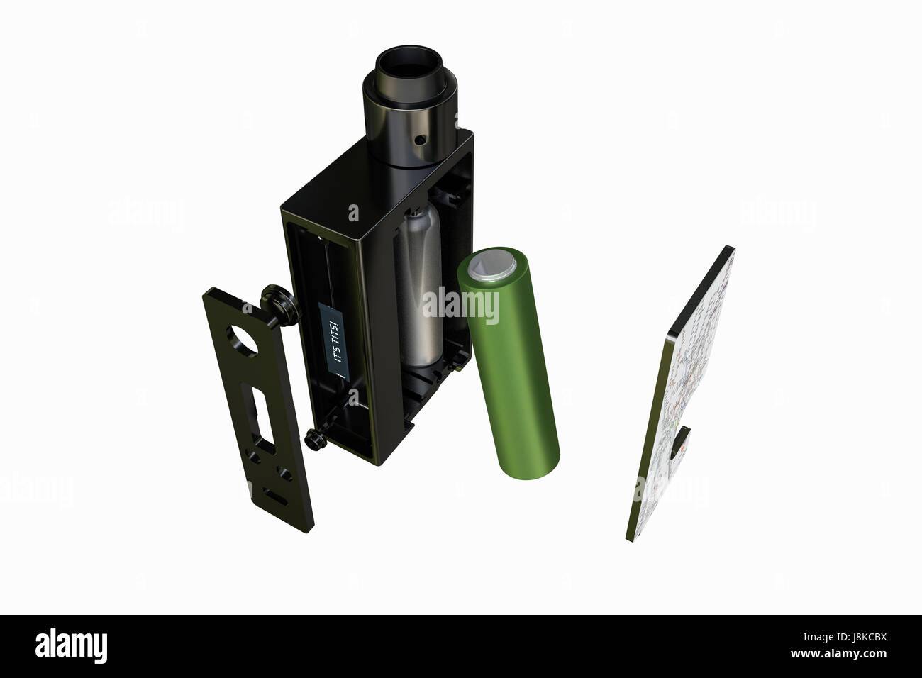 3d illustration of a box mod isolated on white background - Stock Image