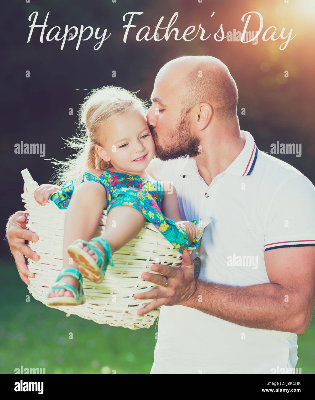 Adorable daughter and father portrait, happy family, Father's day concept Stock Photo