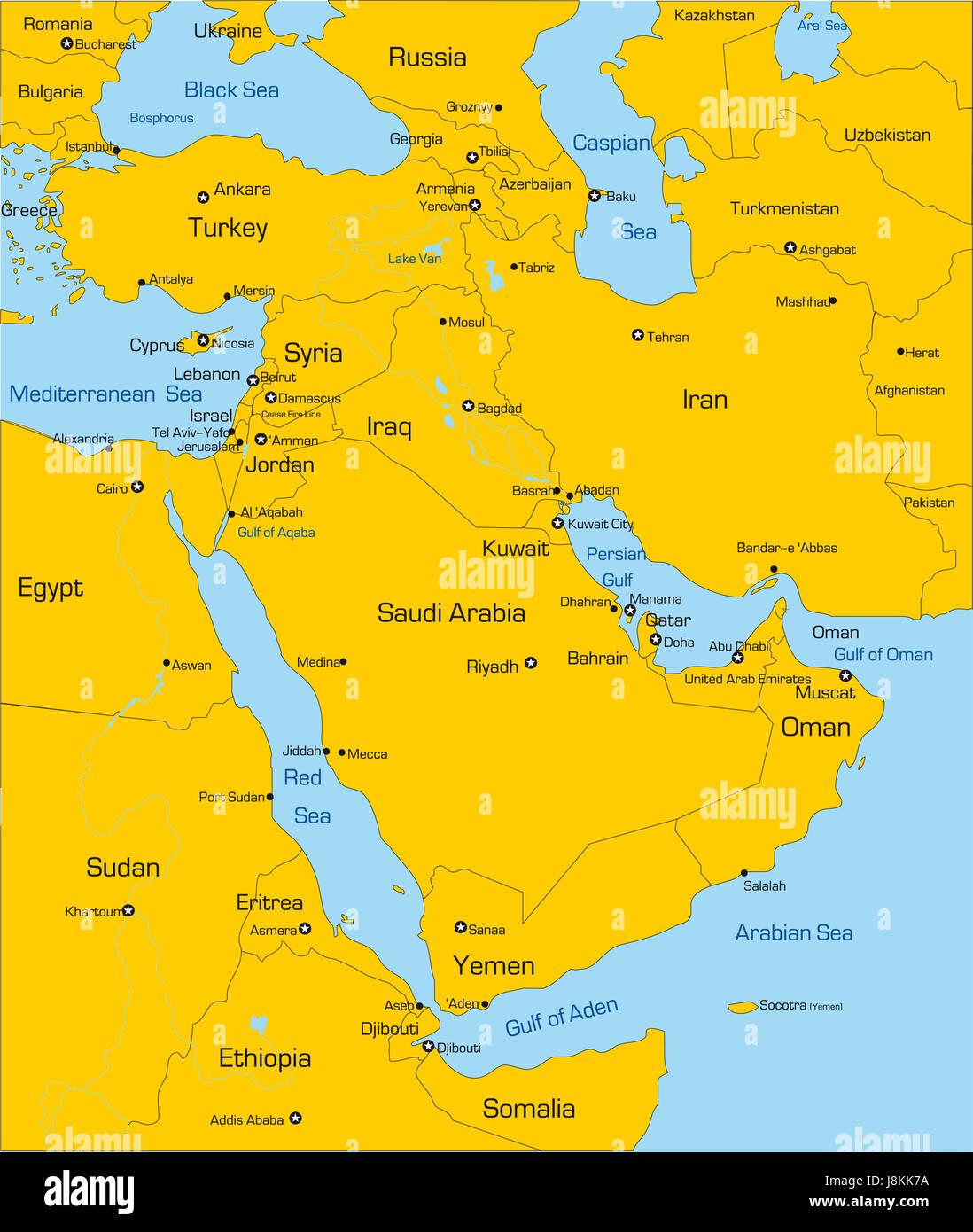 Map Of Asia Jordan.Travel Political Chart Asia Europe Jordan Flag Turkey Arab
