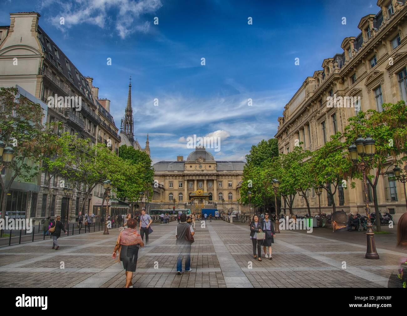 Place Louis Lépine and Palace of Justice at the Ile de la Cité at Paris, France Stock Photo