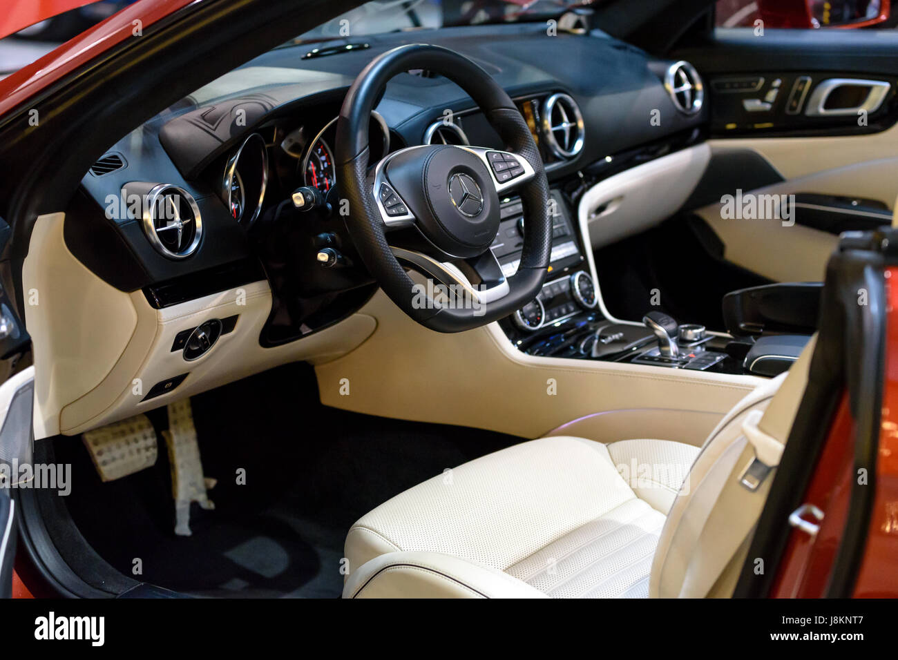 Krakow, Poland, May 21, 2017: Presentation of the inerior of the new Mercedes SL500 Cabrio during MotoShow in Krakow. - Stock Image
