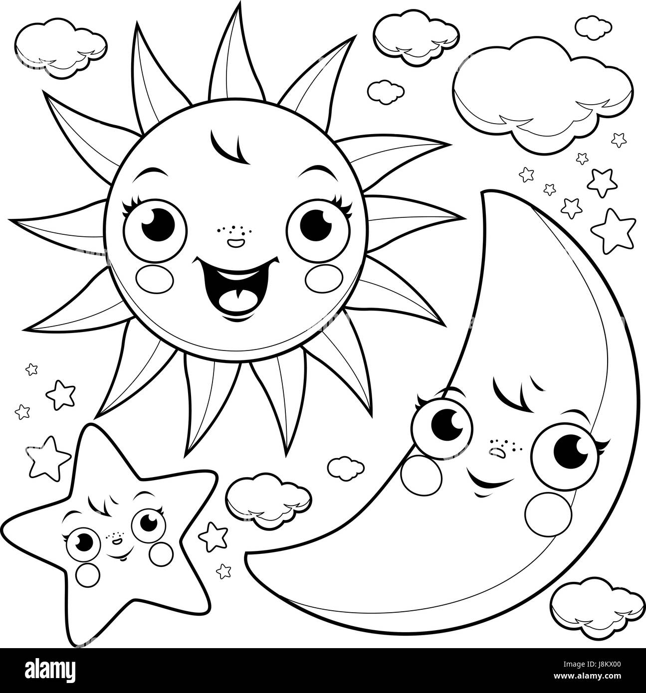 Sun Moon And Stars Coloring Page Stock Vector Art Illustration