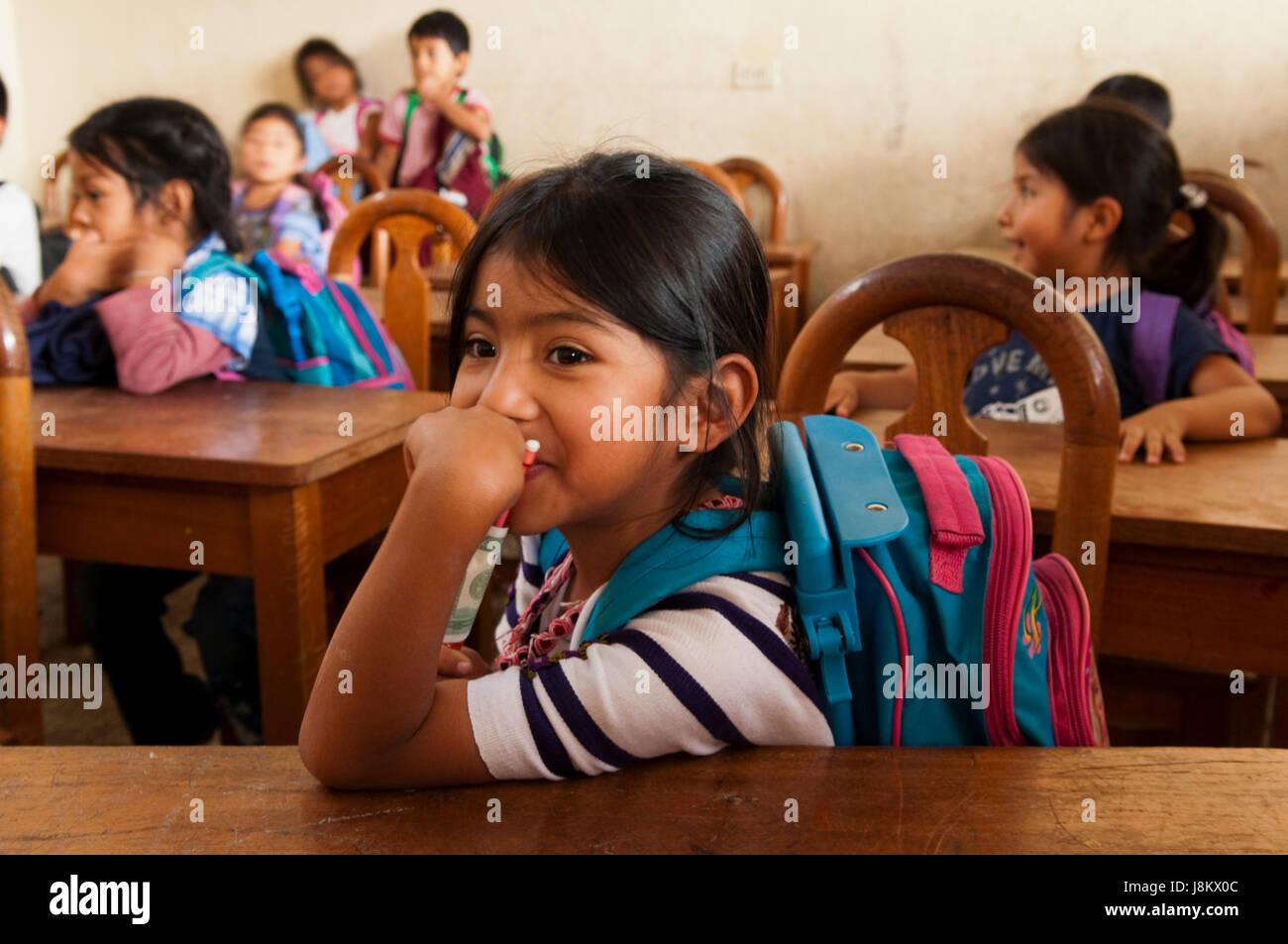 School of Santiago Atitlan, Lake Atitlan, Guatemala. - Stock Image
