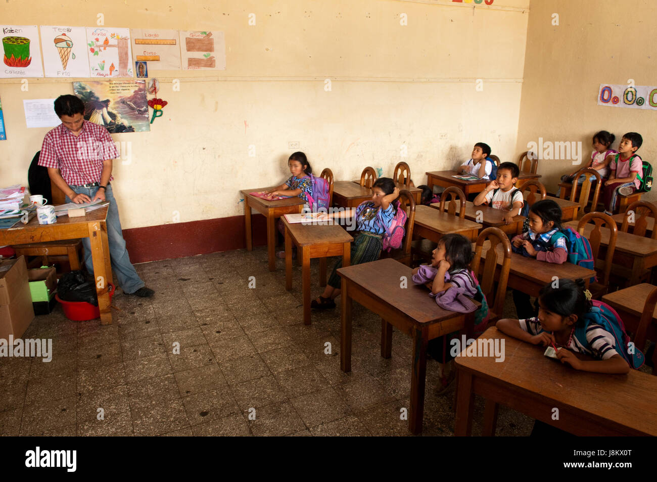 School of Santiago Atitlan, Lake Atitlan, Guatemala. Stock Photo