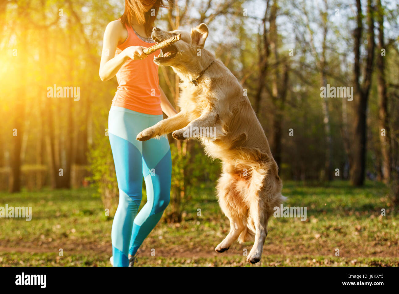 Young woman playing with dog - Stock Image
