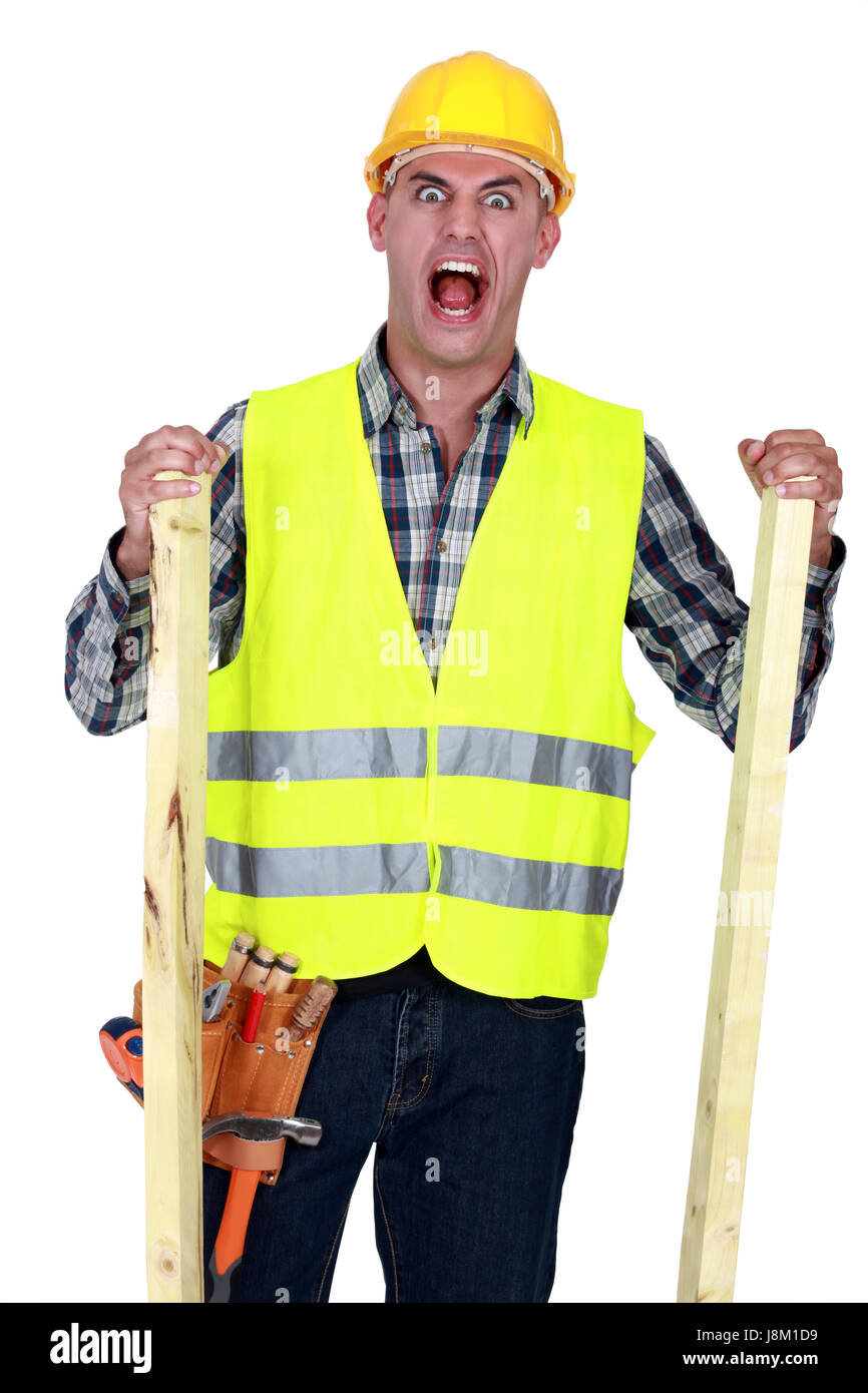 absurd, raving, furious, angry, irately, carpenter, bellow, construction, men, - Stock Image