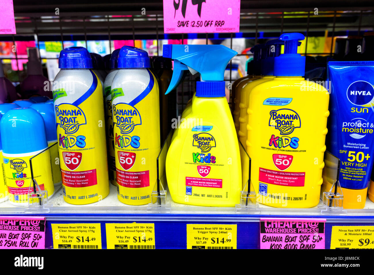 Suncream for kids on shelves at Chemist Warehouse, a discount chemist store, Shellharbour, New South Wales, NSW, - Stock Image