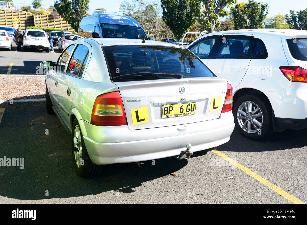 L Plate car badly parked - Stock Image