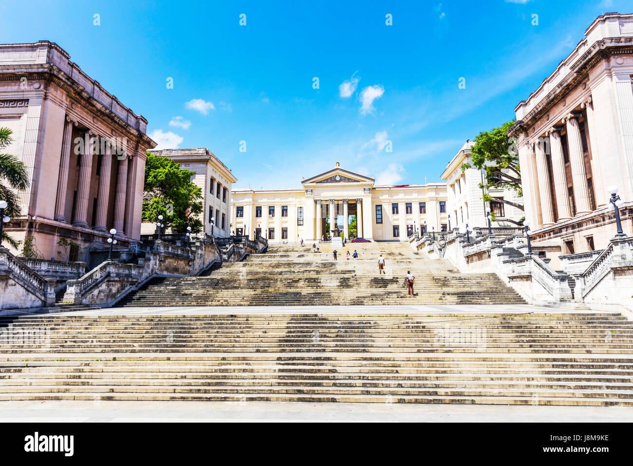The Alma Mater statue in front of the University of Havana, Universidad de La Habana, entrance, Havana, Cuba - Stock Image