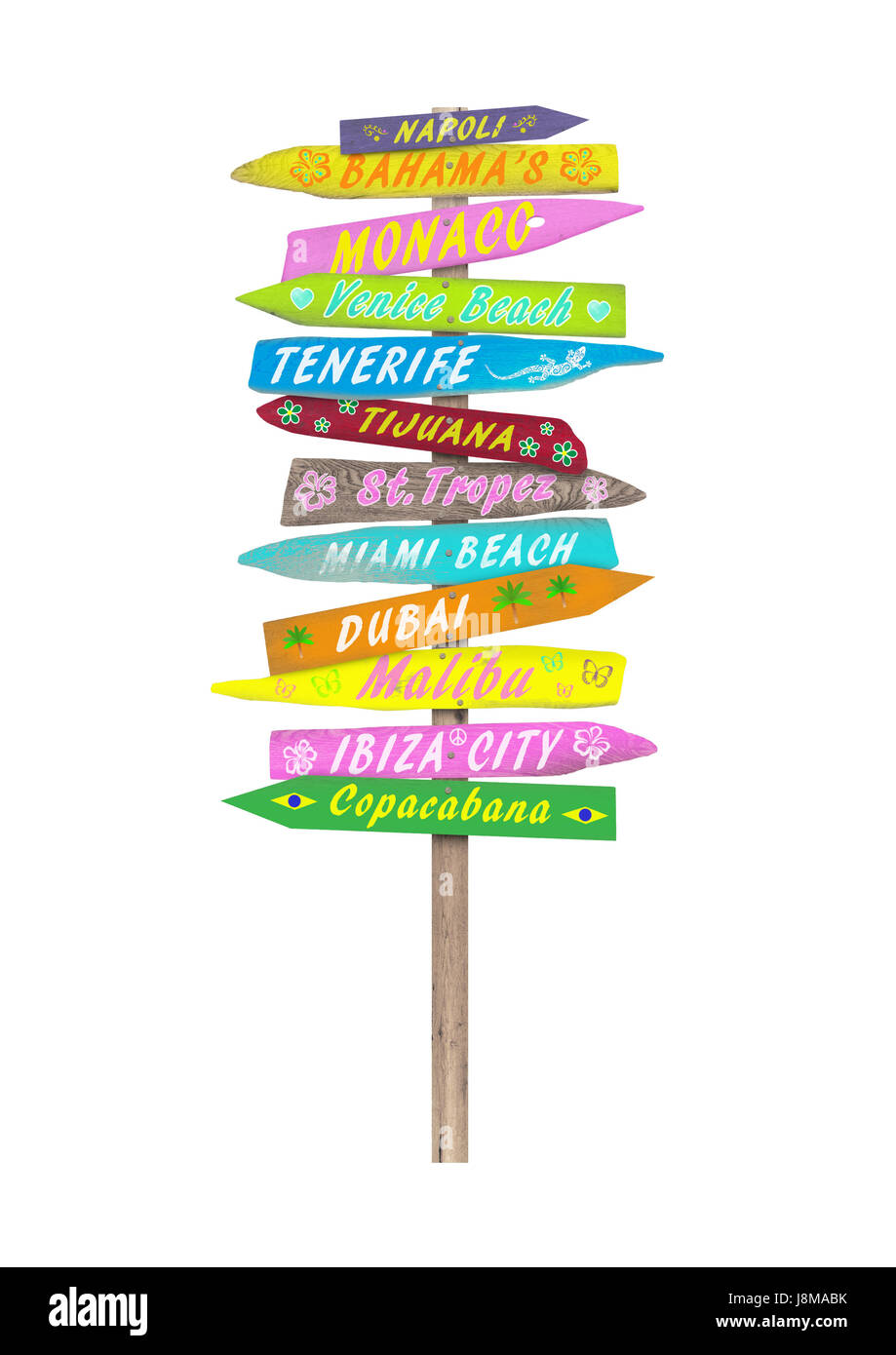 bright colorful wooden directional beach signs with text on pole, isolated on white background Stock Photo