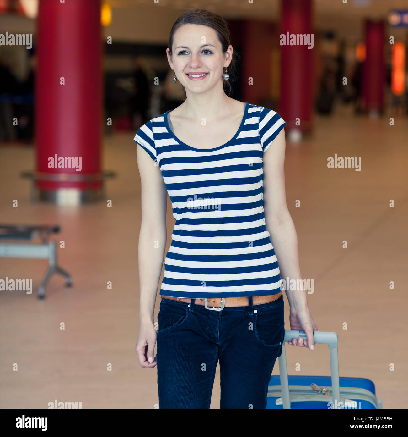 woman, travel, flight, passenger, airport, air, young, younger, woman, Stock Photo