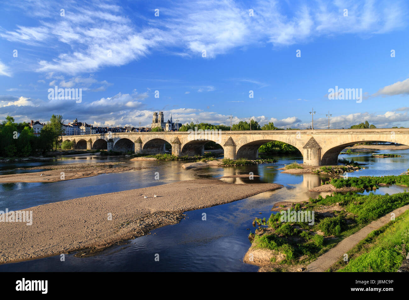 France, Loiret, Orleans, the Loire, the bridge Georges V and Sainte Croix Cathedral Stock Photo