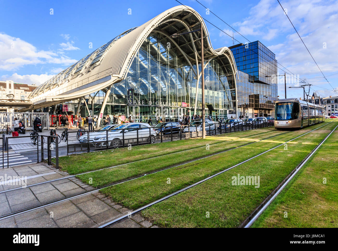 France, Loiret, Orleans, the train station and tram Stock Photo