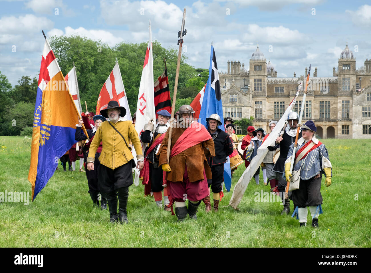 Members of the sealed knot performing a re-enactment at Charlton Park, near Malmesbury, Wiltshire, UK - Stock Image