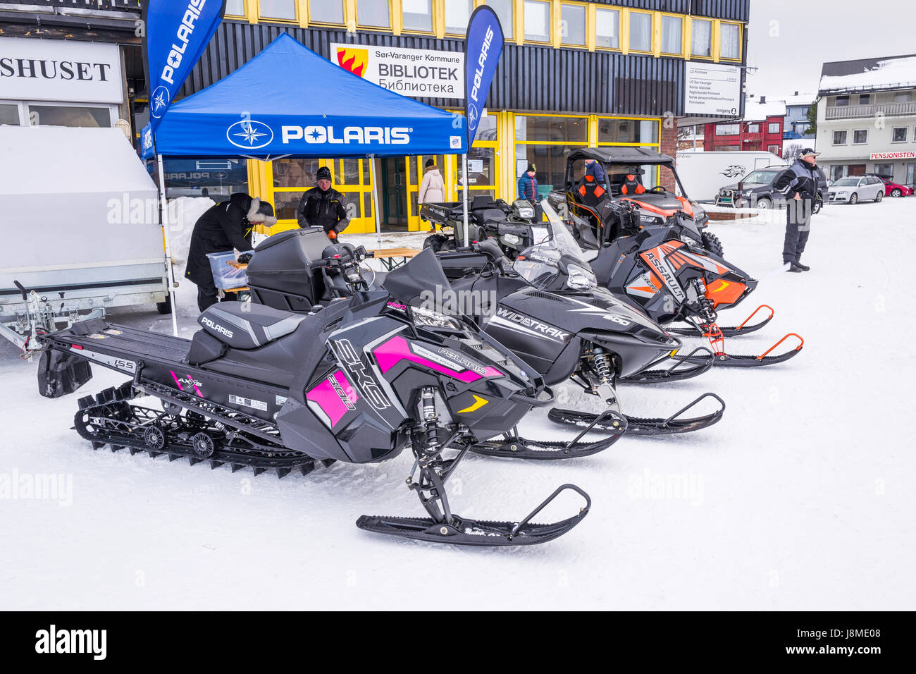 Exhibition of snowmobiles in Kirkenes, Finnmark County, Norway - Stock Image