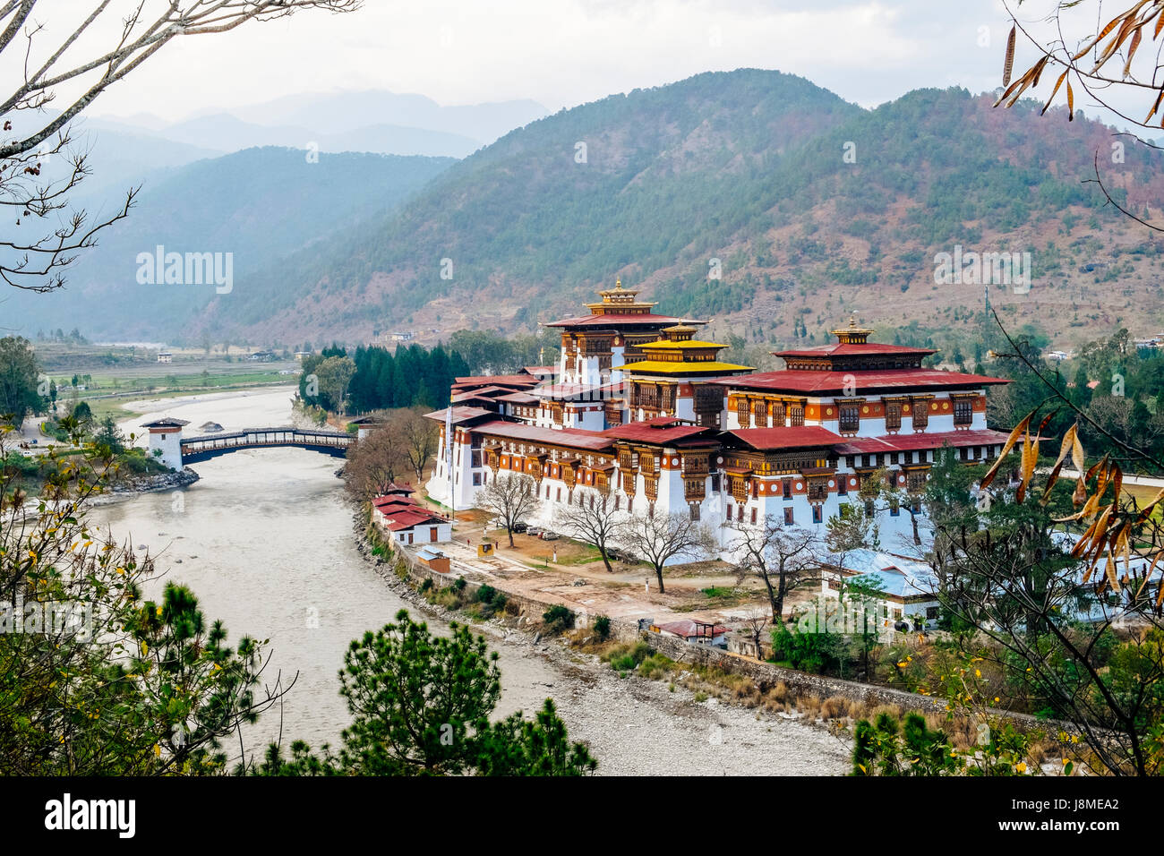 Punakha Dzong or Pungtang Dechen Photrang Dzong means the palace of great happiness located in Punakha district - Stock Image